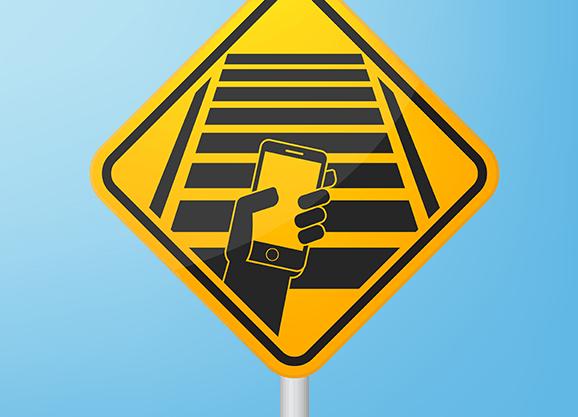 Smombie-Straßenschild