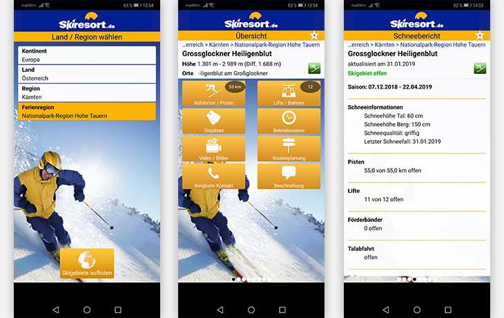 Skiresort.de App Screenshot