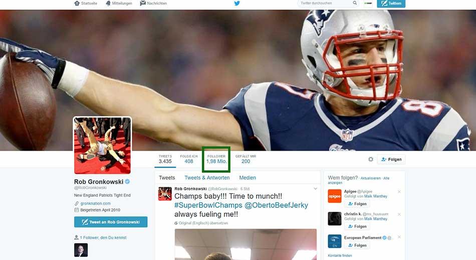 1,98 Millionen Twitter Follower für Rob Gronkowski