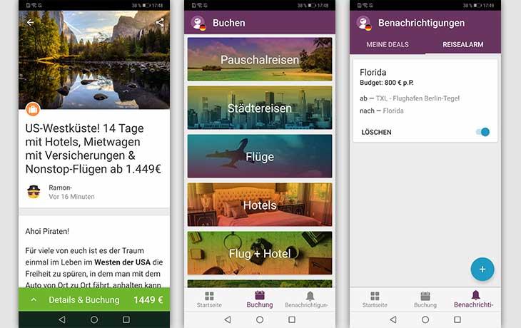 Urlaubspiraten-App Screenshots