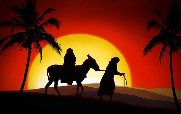 Maria und Josef auf der Reise nach Bethlehem