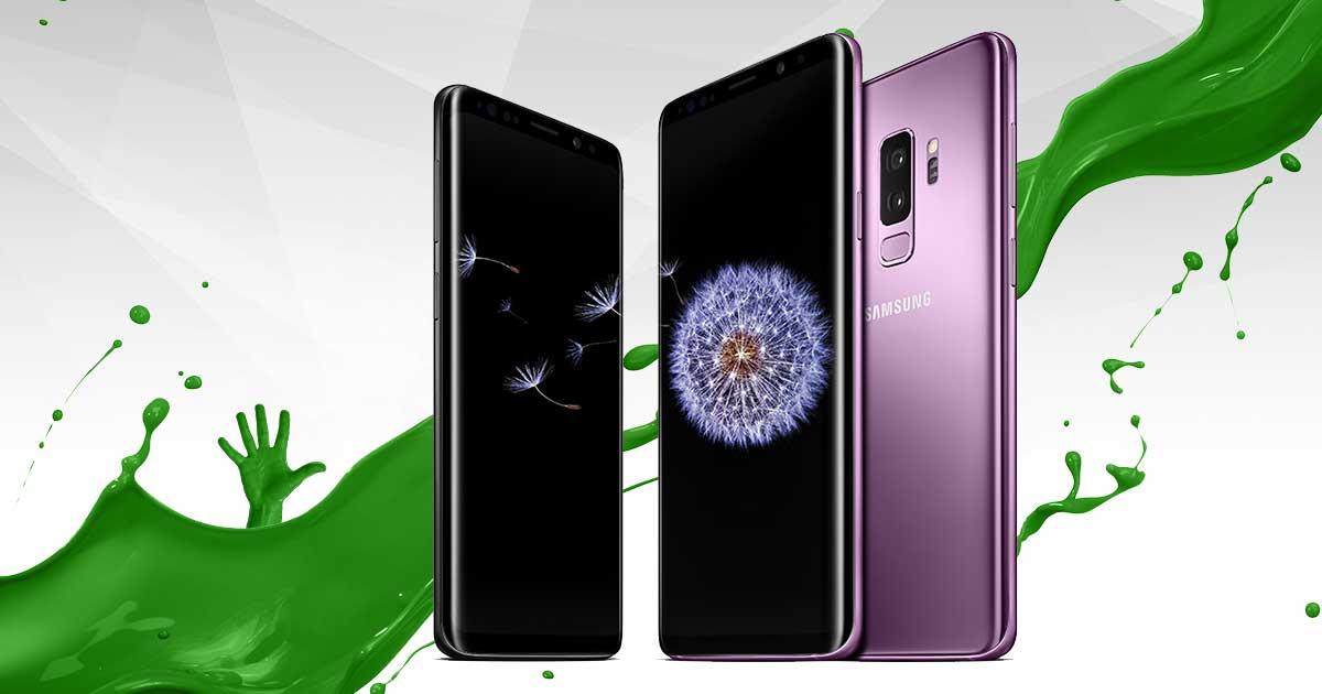 Samsung Galaxy S9 und S9 Plus mit grünem Splash