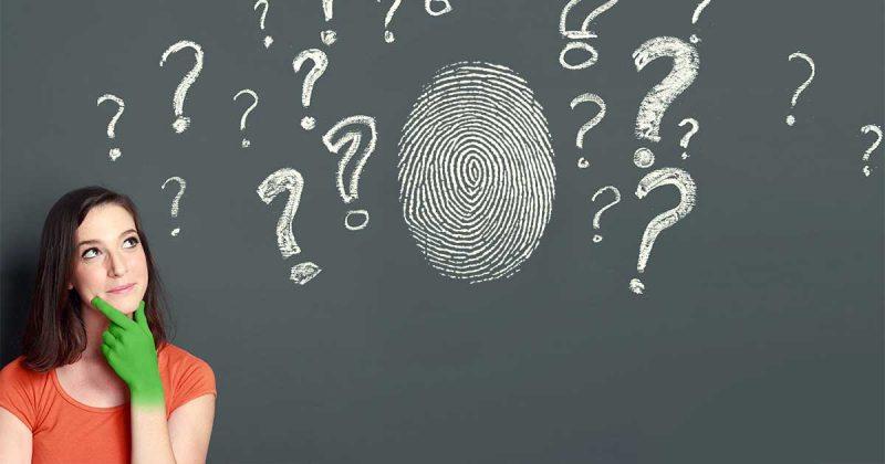 Fingerabdrucksensor mit Fragezeichen