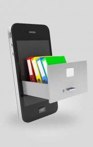 Smartphone mit Aktenordnern