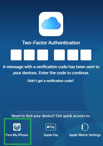 two-factor-authentification find my iPhone