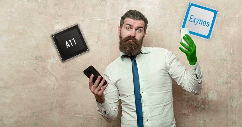Prozesorvergleich Hipster mit Smartphones und Prozessoen