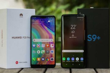 Huawei P20 Pro und Samsung Galaxy S9+ mit ihren Verpackungen