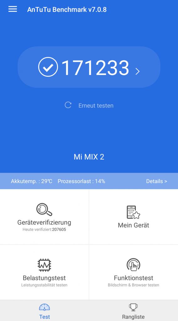 Antutu Benchmark Ergebnis Xiaomi Mi Mix 2