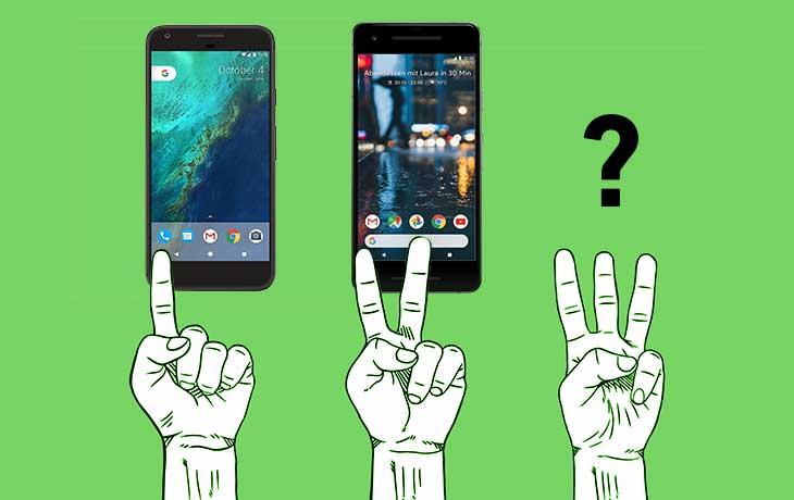 Comic-Finger zeigen eins, zwei und drei. Darüber Google Pixel, Google Pixel 2 und ein Fragezeichen.