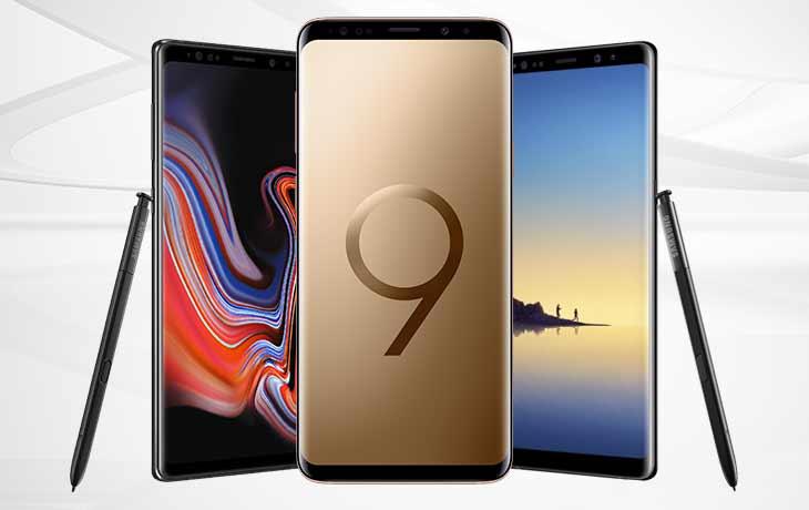 Links das Note9, in der Mitte das S9+ und rechts das Note8