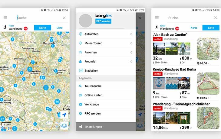 Wander App bergfex: drei Screenshots der App