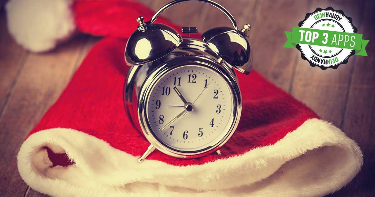 Weihnachtscountdown Apps, Uhr auf Weihnachtsmütze