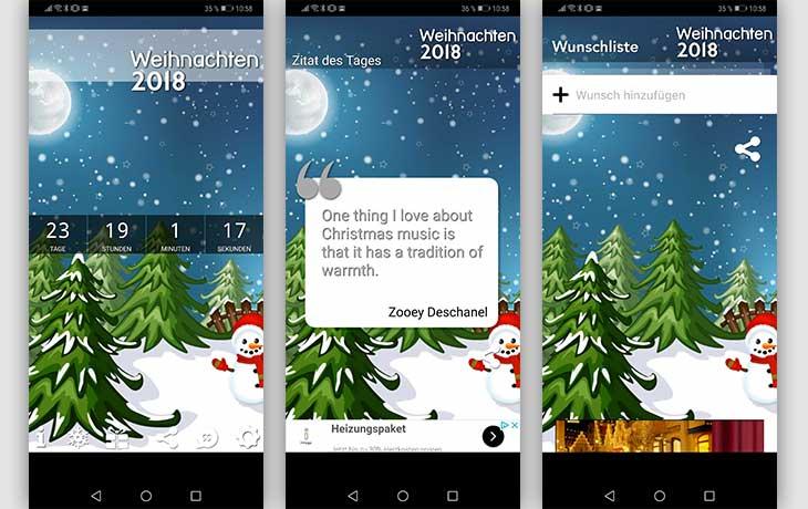 Weihnachtscountdown App Screenshots