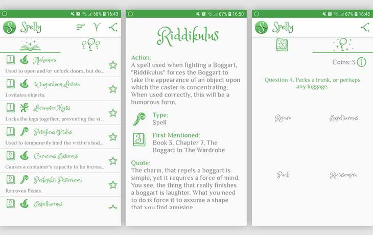 "Harry-Potter-Apps: drei Screenshots der App ""Spelly"""