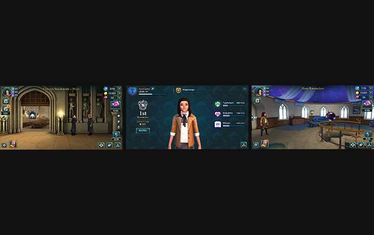 Harry-Potter-Apps: Drei Screenshots der App Harry Potter: Hogwarts Mystery
