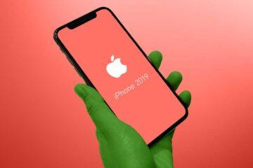 iPhone 2019: Hand mit iPhone und Schriftzug iPhone 2019