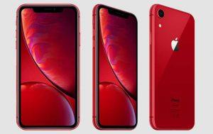 zum Welt-AIDS-Tag: Das Apple iPhone Xr in Rot drei Bilder mit weißem Hintergrund