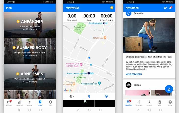 Fitness Apps: drei Screenshots der App Runtastic