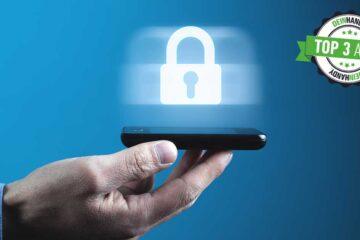 Sicherheits-Apps: Hand mit Smartphone, darüber ist ein virtuelles Schloss