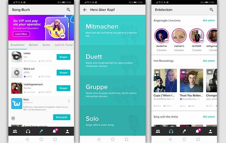 Karaoke-App: Screenshots Smule