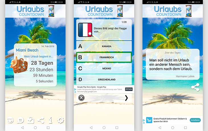 Urlaubscountdown: Screenshots der App Urlaubs-Countdown