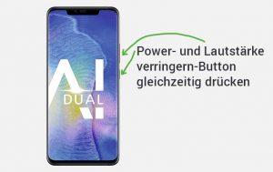 Screenshot Huawei erstellen: Produktbild vom Huawei Mate20 Pro und Pfeile, die zeigen, wo man für einen Screenshot drücken muss