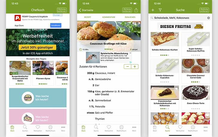 Rezepte-App: Screenshots Chefkoch