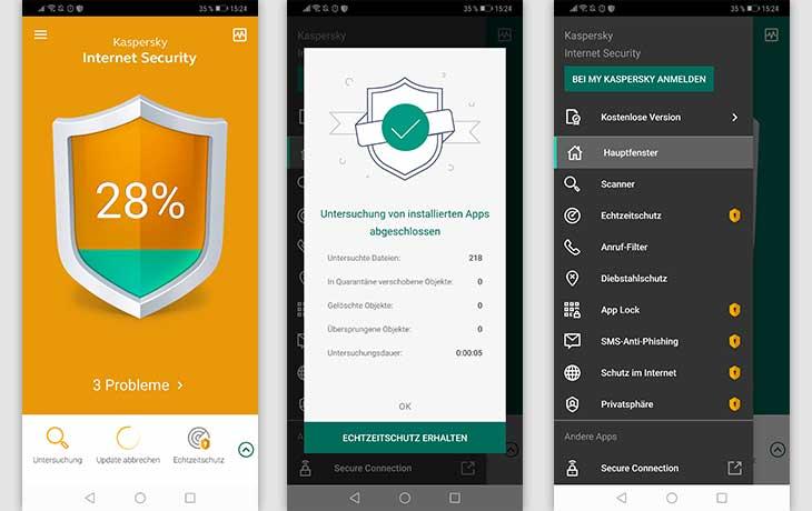 Sicherheits-Apps: Schreenshots Kaspersky
