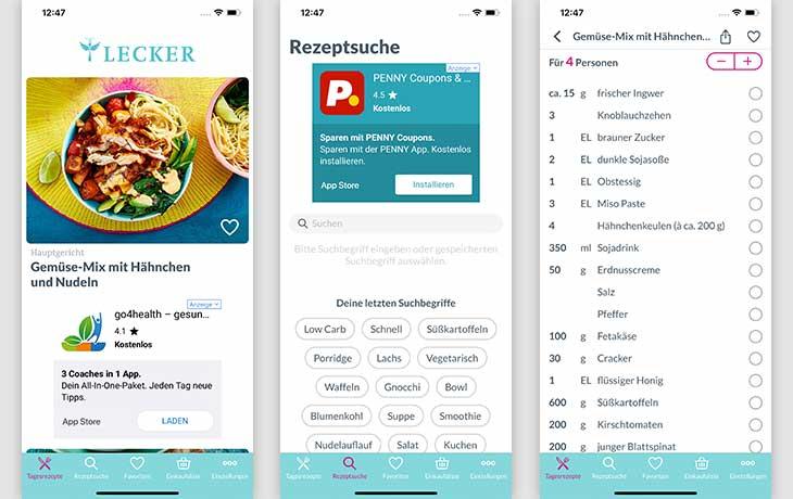 Rezepte-App: Screenshots LECKER