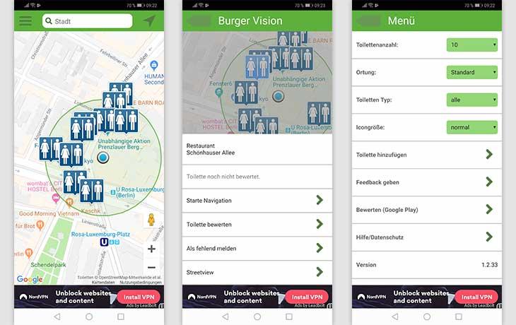 Toiletten-Finder: Screenshots der App Toilet Scout
