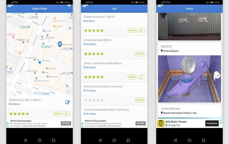 Toiletten-Finder: Screenshots der App Toilet Finder