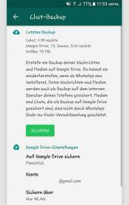 WhatsApp-Backup erstellen: Screenshot Android-Handy
