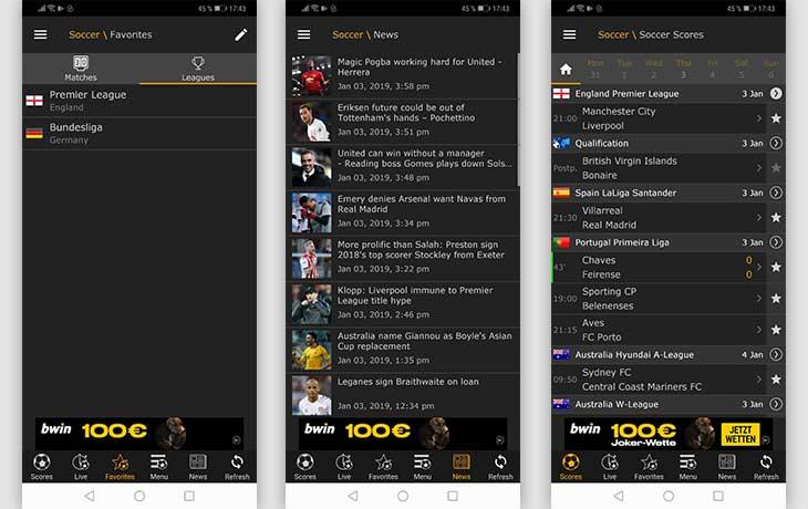 LiveScore Screenshots