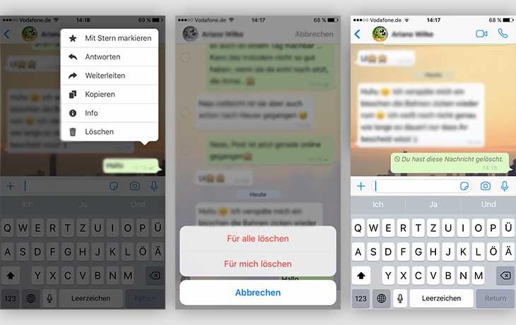 WhatsApp-Nachricht löschen Screenshots