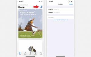 Apple-ID erstellen: Zwei Screenshots von einem iPhone, die die ersten Schritte zur Erstellung zeigen