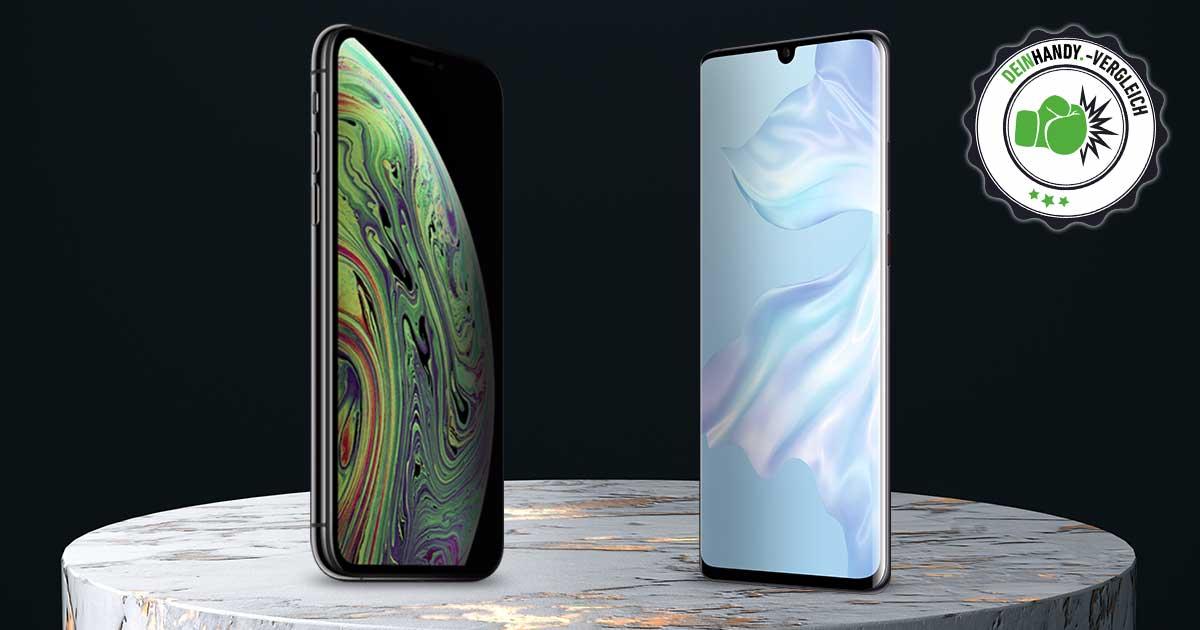 Huawei P30 Pro vs. iPhone Xs Max: Die beiden Handys nebeneinander mit vs.-Stempel