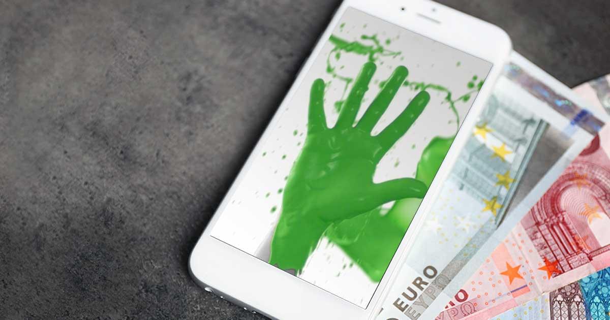Wir kaufen Dein Handy: Handy mit grüner DEINHANDY-Handy, dahinter Geldscheine