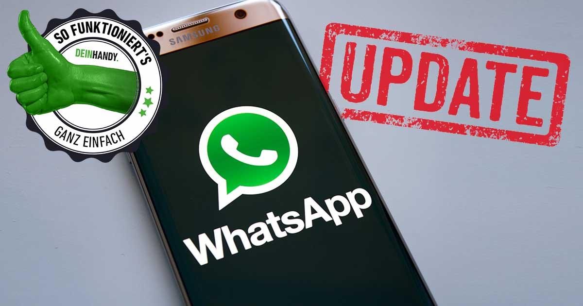"""WhatsApp aktualisieren: Handy mit WhatsApp-Zeichen und rotem """"Update"""" Stempel mit So funktionierts Stempel"""