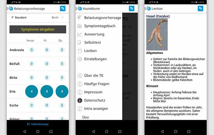 Pollenflug-Apps: Screenshots Husteblume