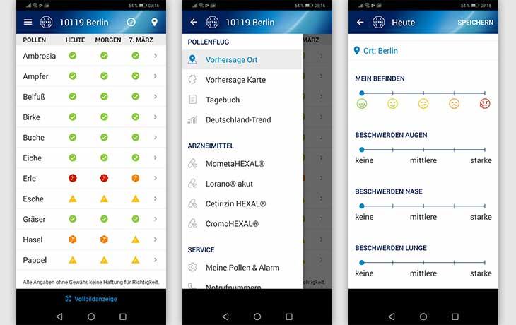 Pollenflug-Apps: Screenshot Pollenflug-Vorhersage