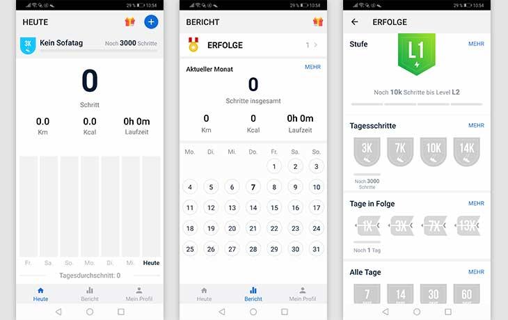 Schrittzähler-App: Screenshot Schrittzähler