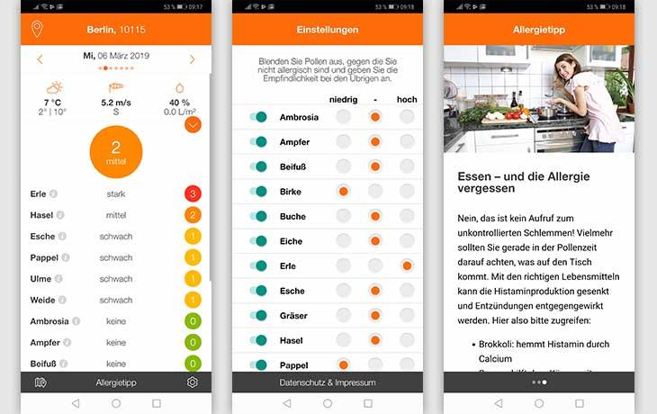 Pollenflug-Apps: Screenshots Pollen-Radar