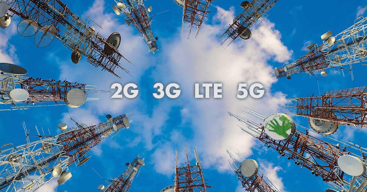 5G, 4G, 3G, und 2G - Mobilfunkstandards