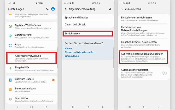 Anleitung Android-Handy zurücksetzen