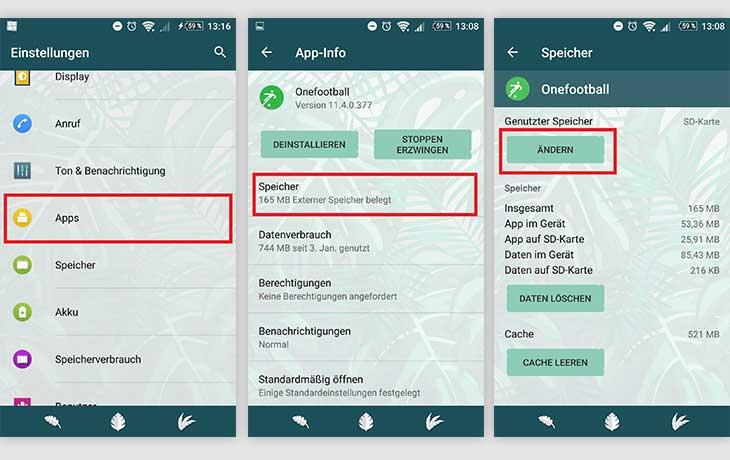 Einzelne Apps auf die SD-Karte verschieben