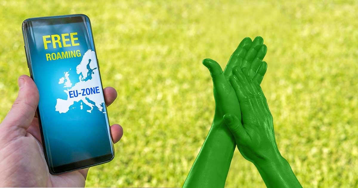 EU-Roaming: Smartphone und klatschende Hände