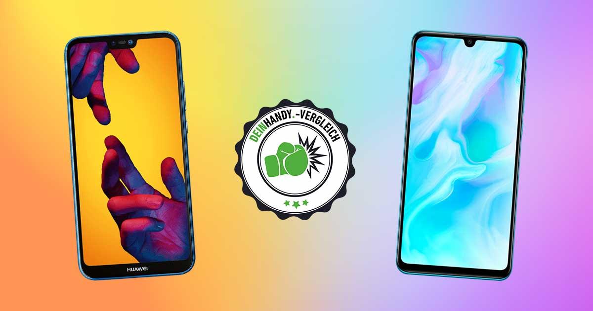 Huawei P30 Lite vs. Huawei P20 Lite: Zwei Handys mit Stempel nebeneinander
