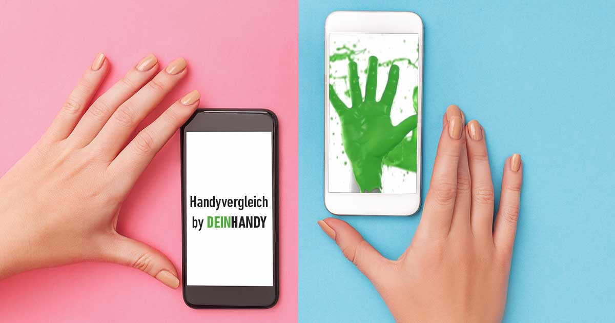 Smartphones vergleichen: Zwei Handys und zwei Hände