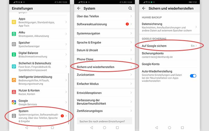 Android-Handy sichern Huawei-Backup