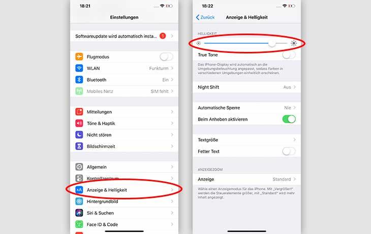 Akku sparen iOS: Helligkeit reduzieren